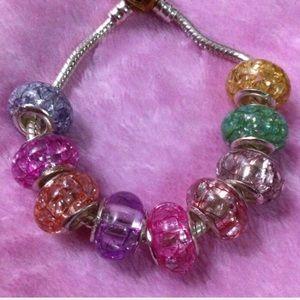 925 Sterling Silver Crystal Acrylic Charm Bracelet